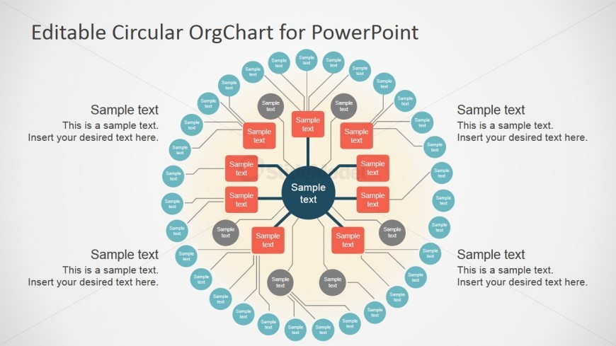 Flat design circular org chart template slidemodel for Power point org chart template