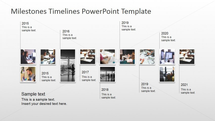 Modern timeline design with picture milestones slidemodel for Milestone chart templates powerpoint
