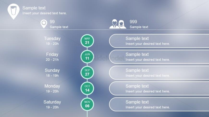 PowerPoint Timeline Flat Blurred Design