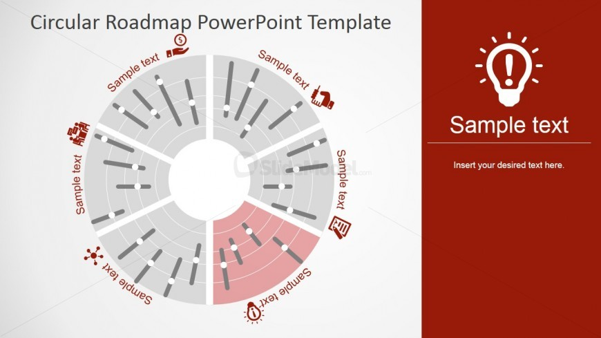 PowerPoint Timeline in Segmented Circular Diagram