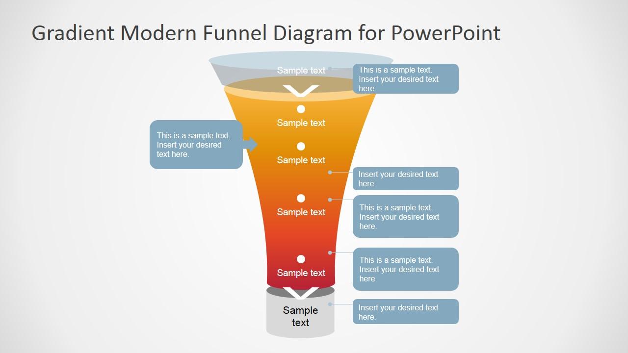 Gradient Modern Funnel Diagram For Powerpoint
