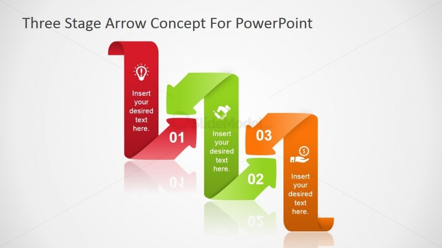 PowerPoint Diagram with Flat Curved Arrows