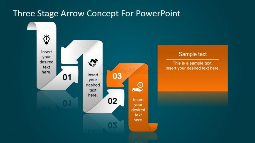 PowerPoint Diagram Featuring Bended Flat Arrows