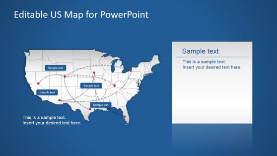 USA PowerPoint Map with Routes