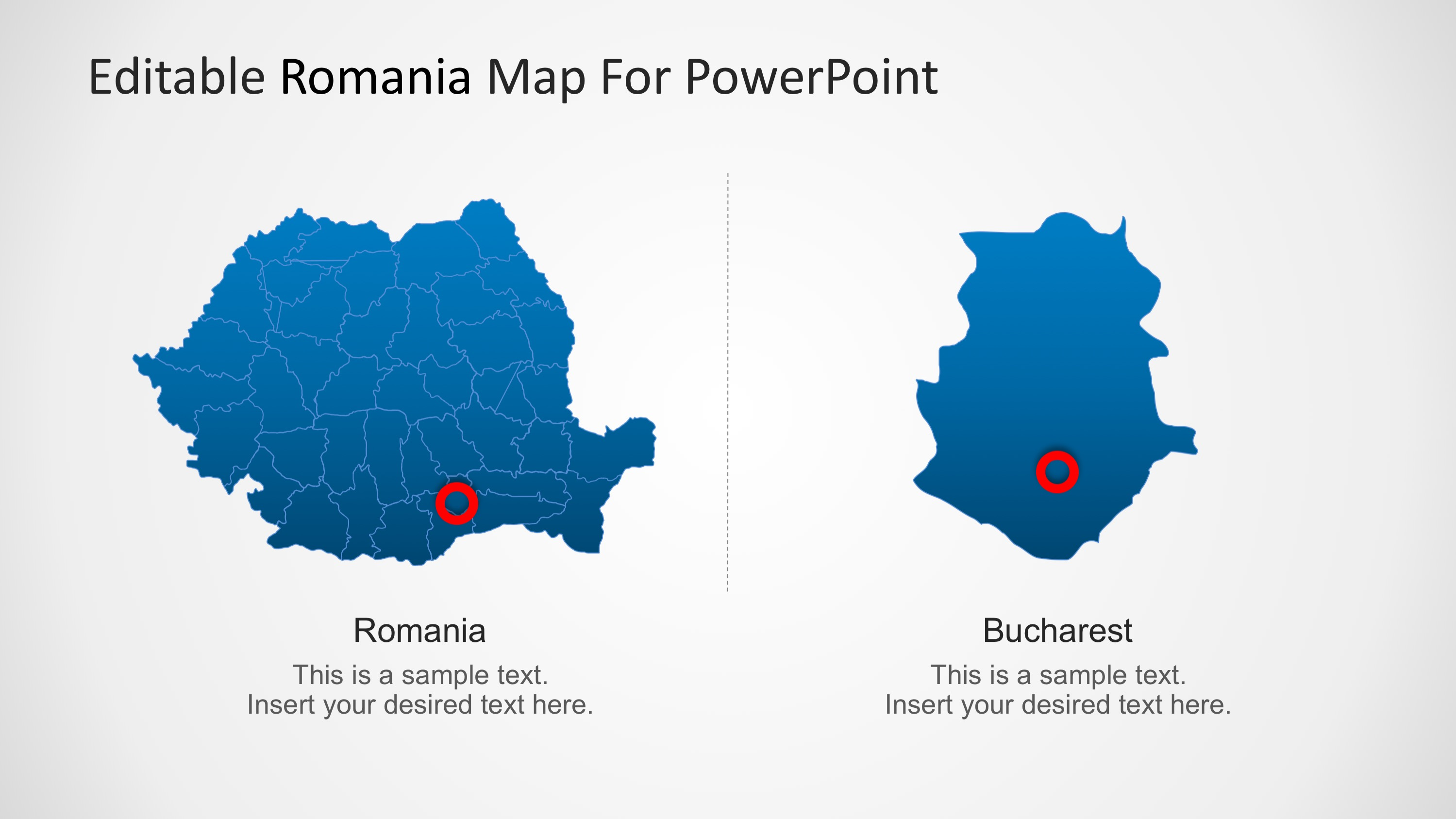 PPT Map of Romania with City Marker