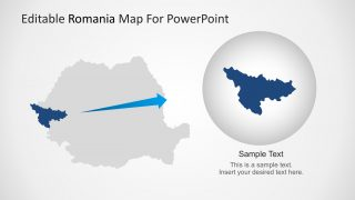 PPT Map of Romania with Highlighted State.