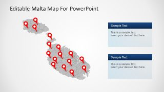 PowerPoint of Gray Map with Red Pin Icons