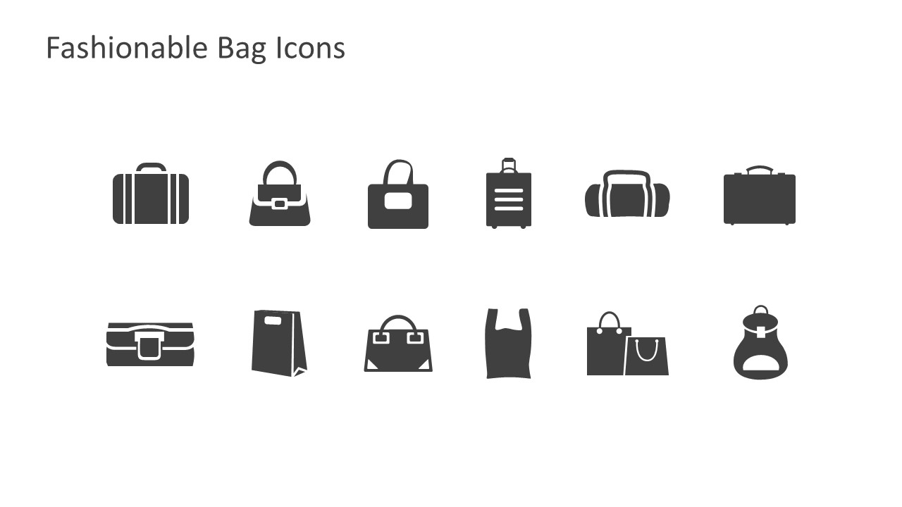 12 Fashionable Bags Icons For PowerPoint Presentations