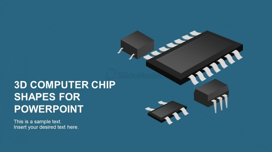 3D Graphic Computer Chip for PowerPoint Presentation