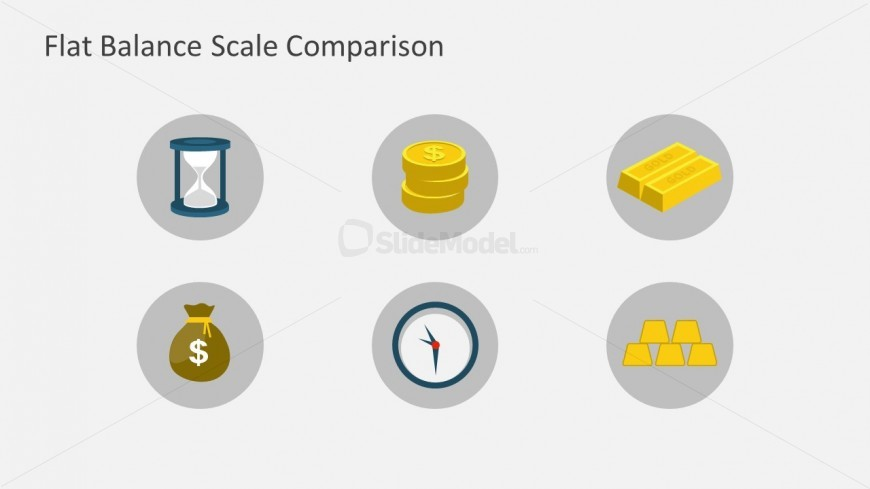 This PowerPoint presentation relates to time and money with an hourglass next to gold coins.