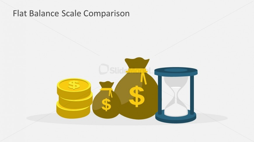 """This Gold Money Next to Hourglass illustration can deliver a motivational presentation honoring Benjamin Franklin's quote, """"Time is Money""""."""