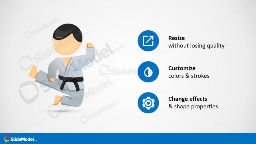 Karate Cartoon Character For PowerPoint