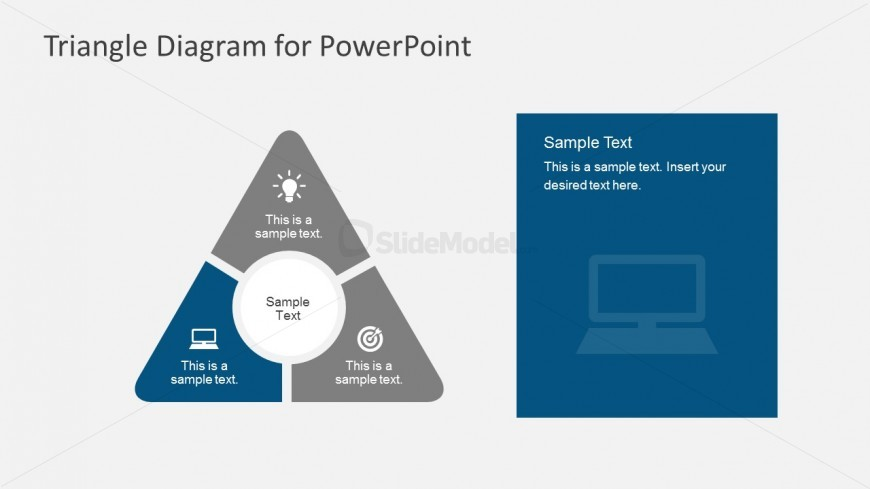 Flat Triangle Process Flow PowerPoint Illustration