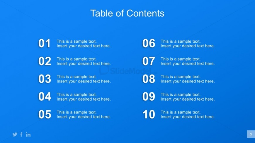 PowerPoint Business Plan Table Of Contents