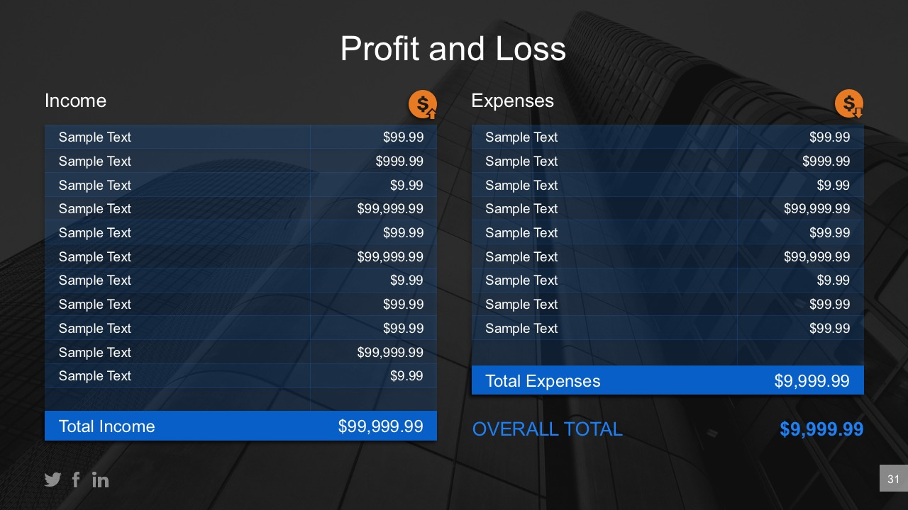 Expenses Vs Income Data Table Comparison For PowerPoint