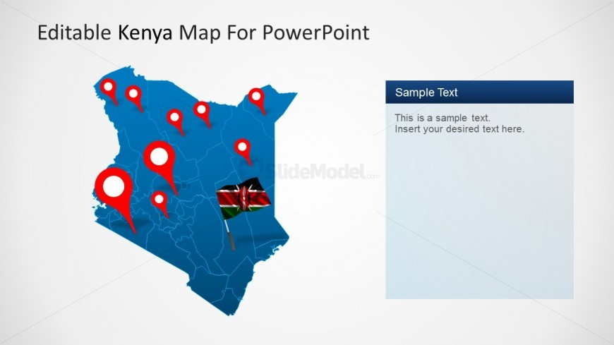 PowerPoint Map of Kenya with GPS Location Icons