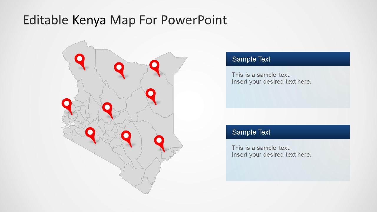 Editable kenya powerpoint map toneelgroepblik Images