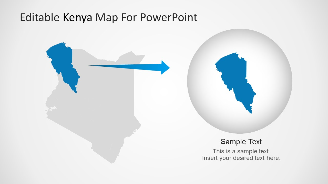 Editable kenya powerpoint map kenya map turkana region highlight toneelgroepblik Choice Image