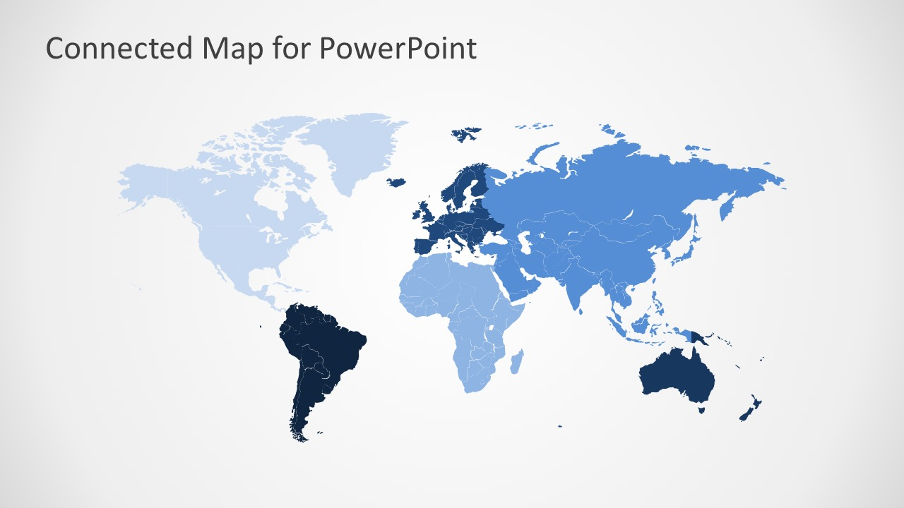 Colored World Continental Map Of the World PowerPoint