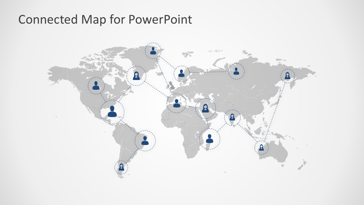 Connected map powerpoint template 7 continents of the world map for powerpoint continent model with human icon for powerpoint gumiabroncs Image collections