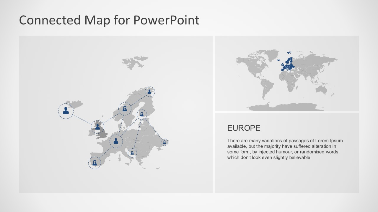 Connected map powerpoint template accurate european continent location map for powerpoint toneelgroepblik Gallery