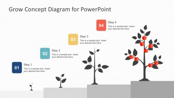 4 Steps Business Growth Tree Diagram PowerPoint