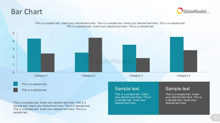 Flat Color Bar Graph Design For PowerPoint