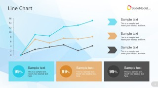 Cool Line Chart For PowerPoint With Text Boxes