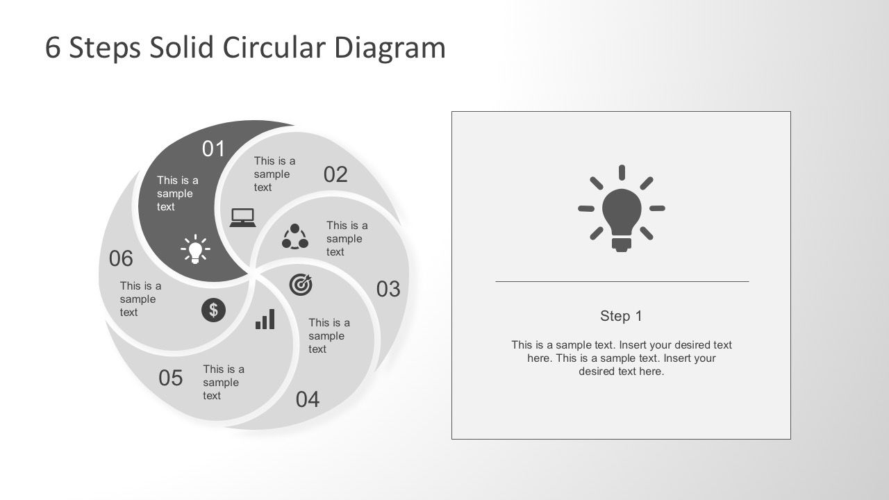 Six Steps Solid Circular Diagram PowerPoint