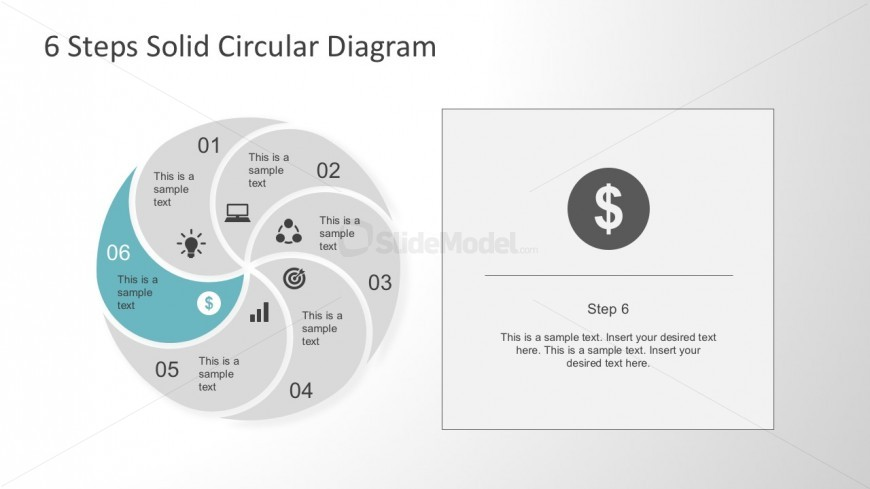 Six Steps Spiral PowerPoint Diagram