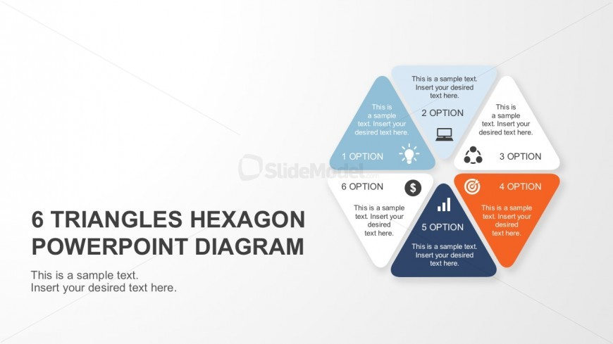 6 Triangles Hexagon Diagram Cover Slide