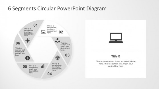 6 Steps PowerPoint Shapes Flow Charts
