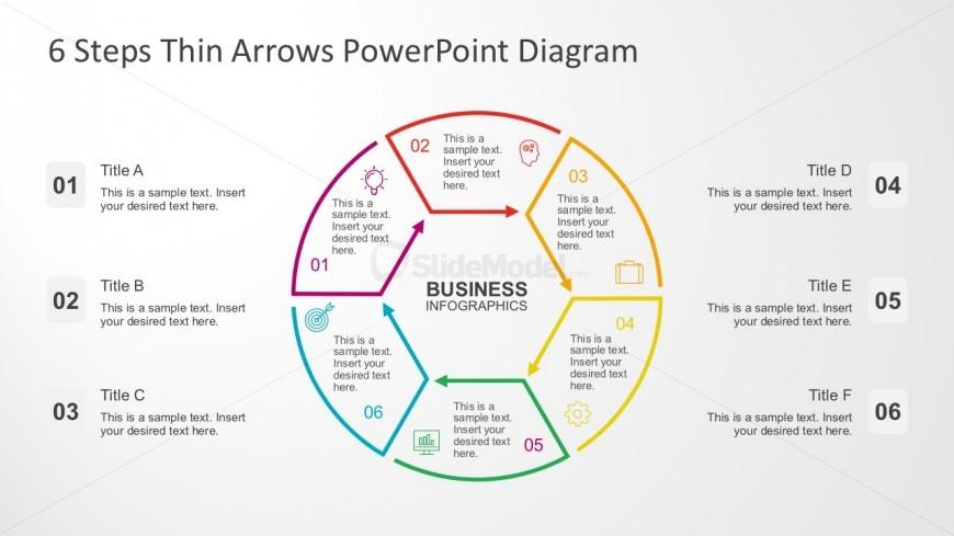Thin Arrow Chart PowerPoint Templates