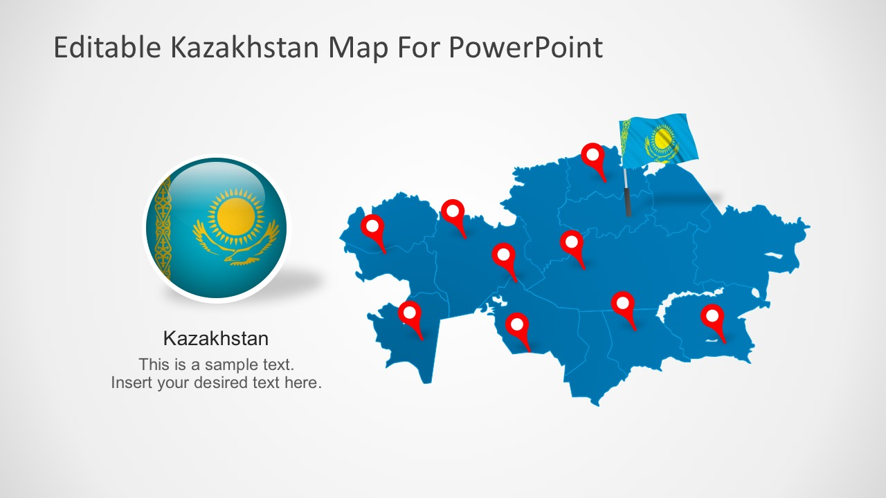Editable PowerPoint Map of Kazakhstan