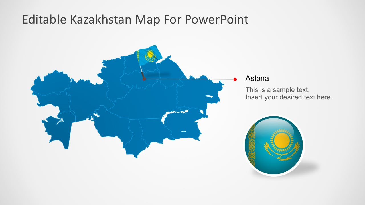 Editable Kazakhstan PowerPoint Map