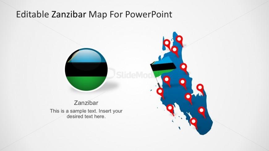 Zanzibar Political Map with Location Markers