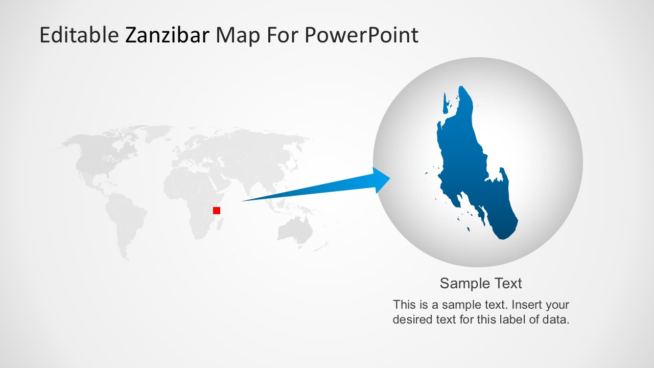 Editable Location Map of Zanzibar