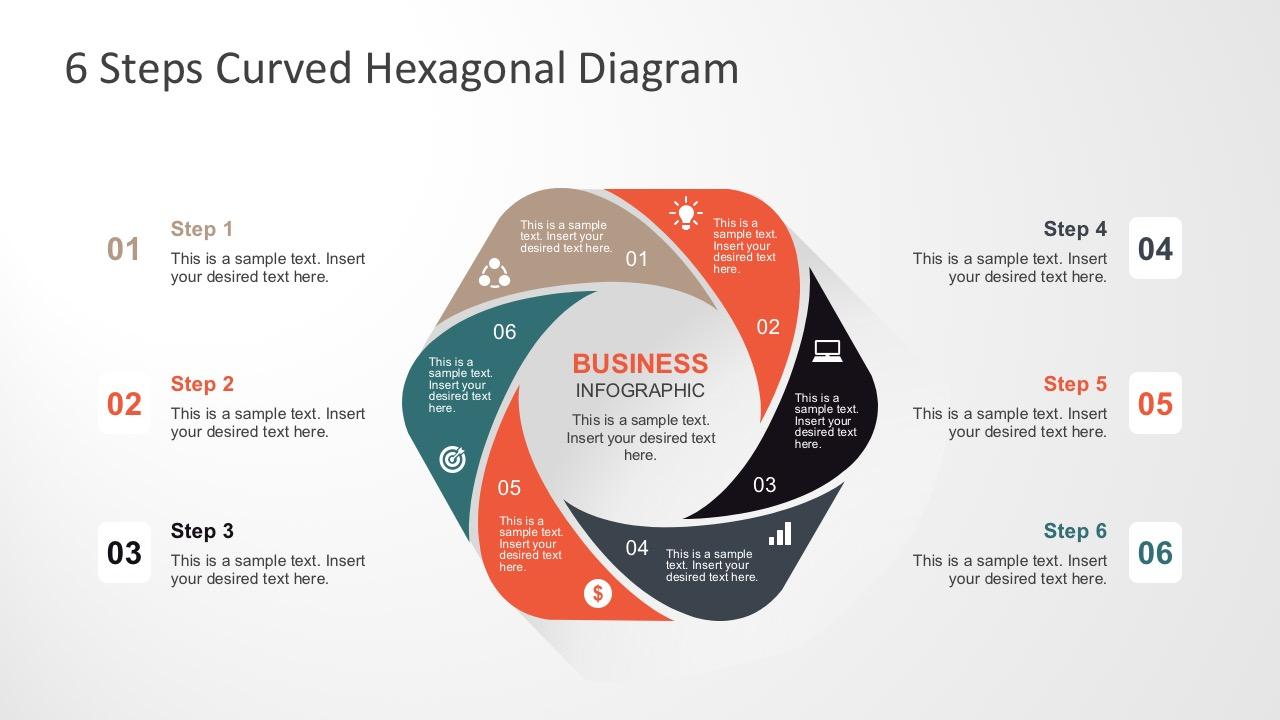 6 Steps Curved Hexagonal Diagram