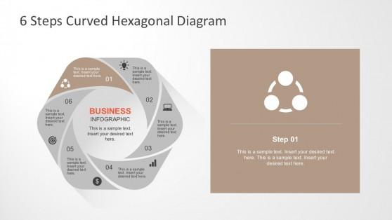 6 Steps Hexagonal Flower Infographic Diagrams
