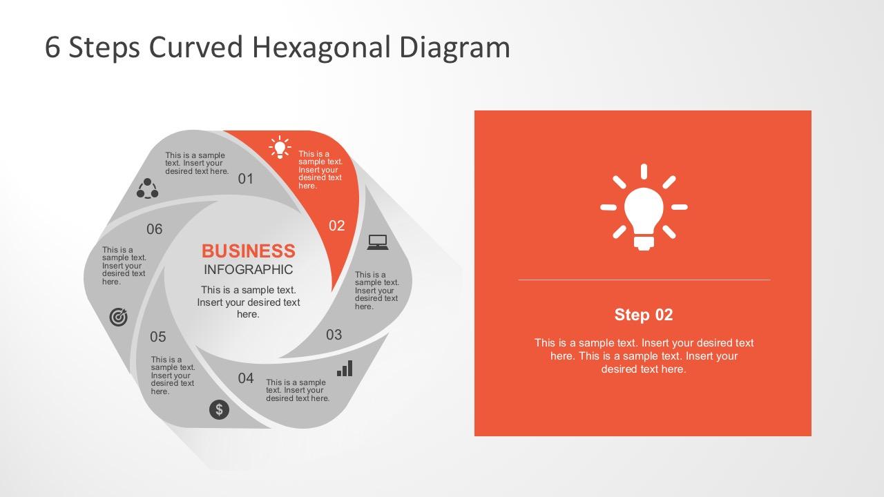 6 steps curved hexagonal diagram. Black Bedroom Furniture Sets. Home Design Ideas