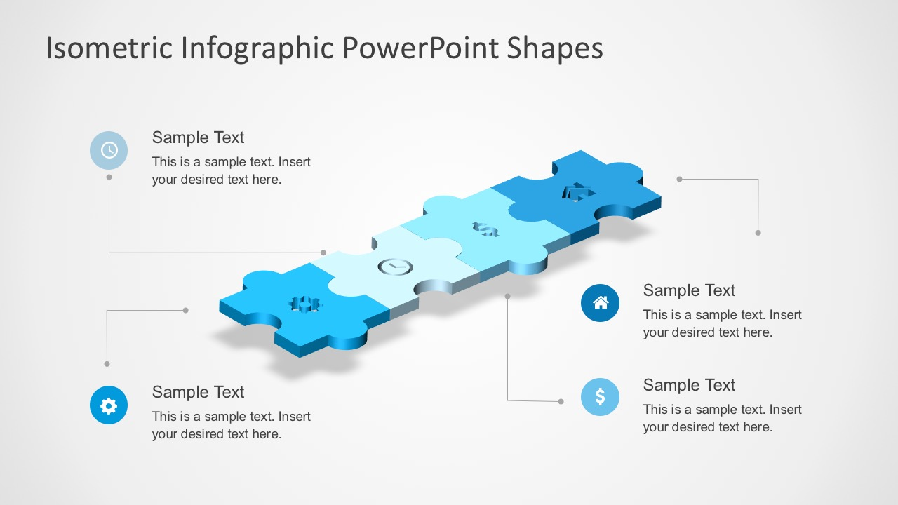 Flat Puzzle PowerPoint Slides with 4 Steps