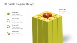 4 Steps Box Jigsaw Puzzle Templates For PowerPoint