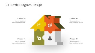 3D House Puzzle Design With 4 Process Steps