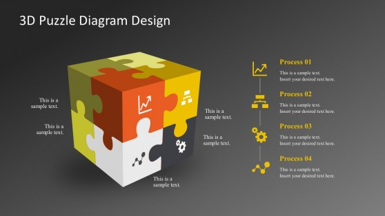 Dark Background 3D Puzzle Diagrams With 4 Steps