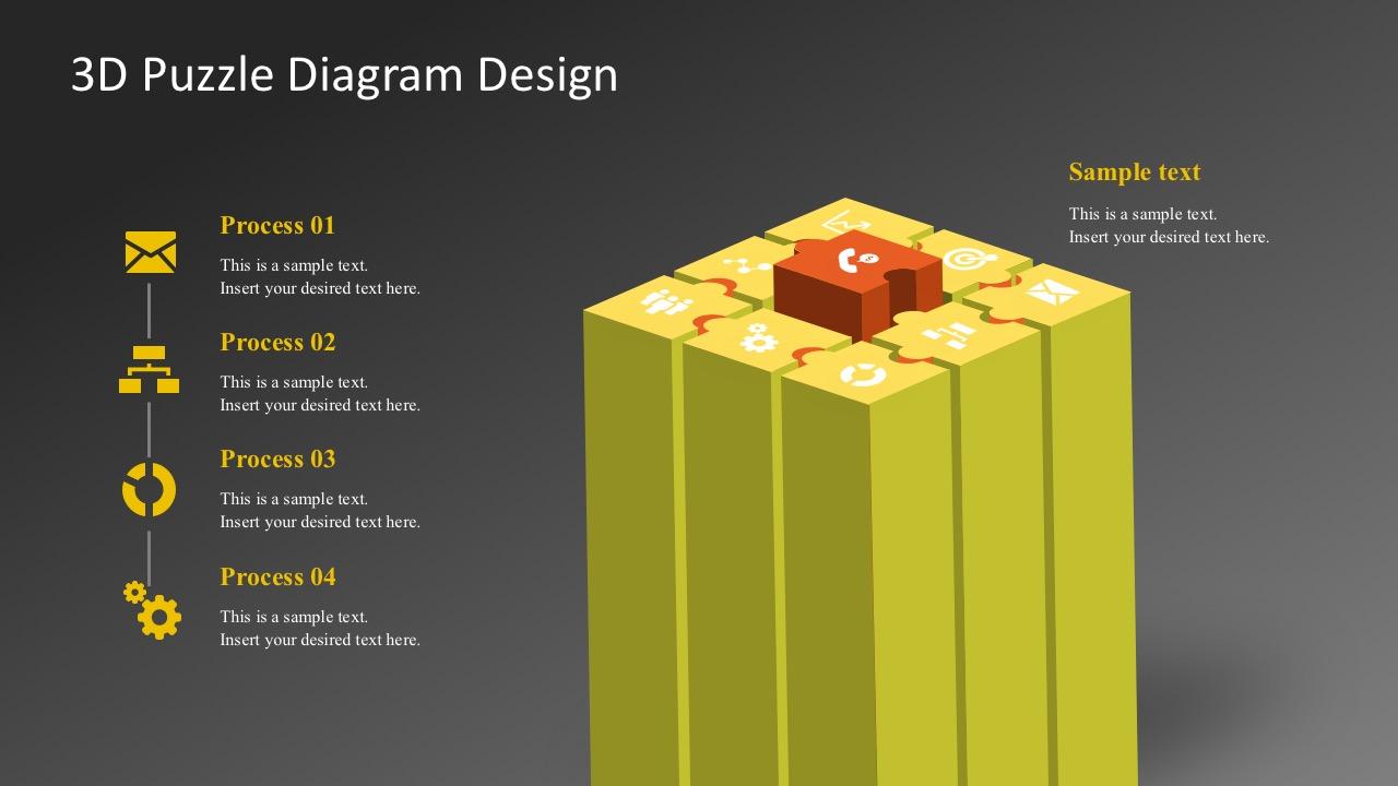 3D Puzzle Diagram Design PowerPoint Templates