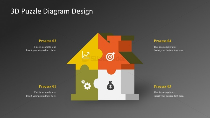 4 Steps Jigsaw Puzzle Shapes For PowerPoint