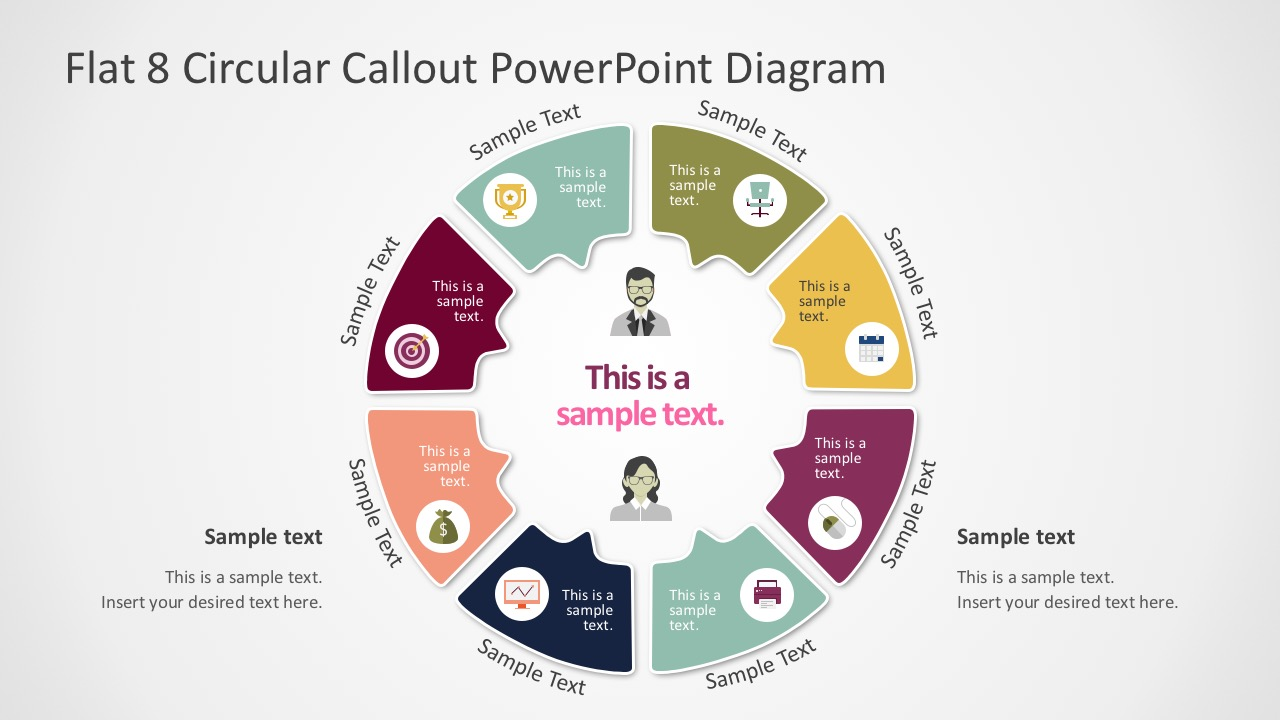 Flat Circle Diagrams PowerPoint Graphics