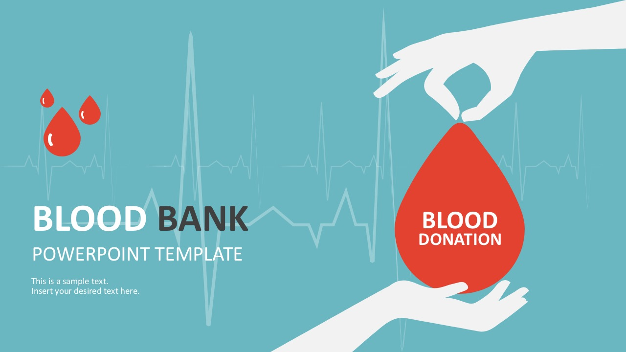Blood bank donation powerpoint template powerpoint healthcare template with ecg graphs toneelgroepblik Image collections