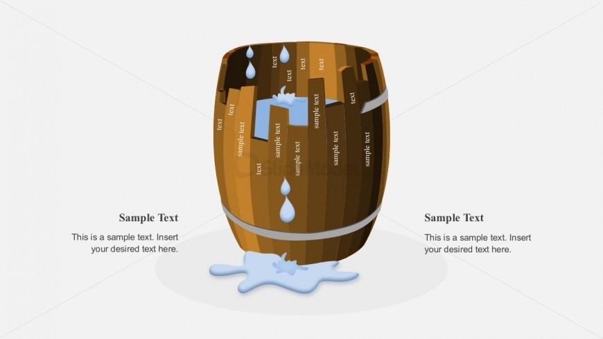 Barrel PowerPoint Shapes with Water Leakage
