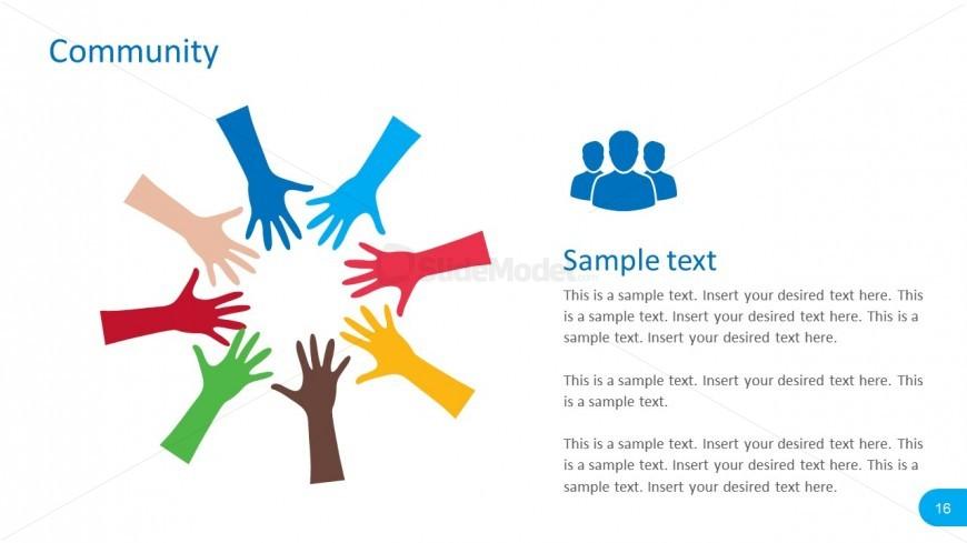Editable Hand Community PowerPoint Vectors